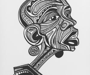 Black Model created using bold and soft litema patterns in black and white.