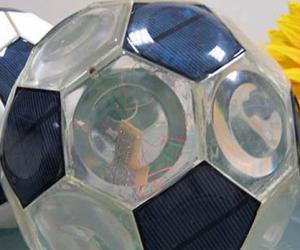 Solar-panel soccer ball. Photo via Inhabitots.