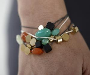 Skermunkil Design Studio's mixed stone and brass bracelets.