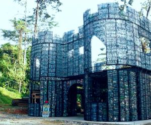 A plastic bottle home construction site