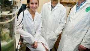 Hailee Rask, Harshad Velankara and professor David Mullin at Tulane University.