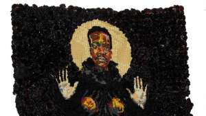 Uzukile the Elder made from wool, thread, artificial flowers and spray paint on tapestry canvas. 2013 Image: WHATIFTHEWORLD.