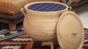 Wooden Potjie Pot by Mlondolozi Hempe and Laduma Ngxokolo. Image: Henk Hatting.