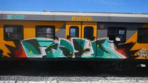 "A ""toe panel"" on a Metro train featured in Matthew Olckers' book 'Painting Cape Town: Graffiti from South Africa'."