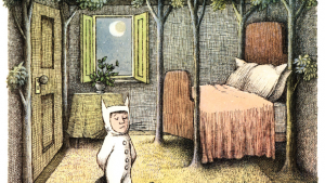 "Maurice Sendak's illustration work in ""Where the wild things are""."