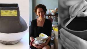 Cape Town ceramicist Kate Rosenberg's Africa-inspired vase from The Berg Collection, left; surrounded by some of her own pieces, as well as a collection of work by Imiso Ceramics and Light from Africa/Art in the Forest, middle; putting the finishing touches to a hand-built vessel vase, right.