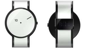 The FES Watch, made of electronic paper, is a blank canvas that displays a range of patterns activated by user gestures.