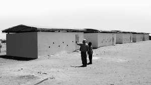 60 sandbag classrooms built in Mbera refugee camp, Mauritania. Image: FAREstudio