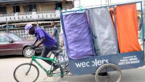 A fleet of bicycles are cleaning up the densely populated and polluted city of Lagos.