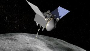 Artist's rendering of the OSIRIS-REx spacecraft at the asteroid Bennu
