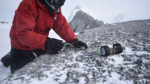 PUFFER was outfitted for field testing in snow during a recent trip to Antarctica's Mt. Erebus. Credits: Dylan Taylor