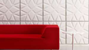 Geo sound absorbing wall panels by Ineke Hans.