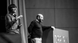 Roberto Feo and Rosario Hurtado of El Ultimo Grito on stage at Design Indaba Conference 2014. Image: Jonx Pillemer.