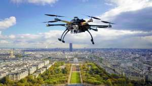 Drone over city - Stock Image